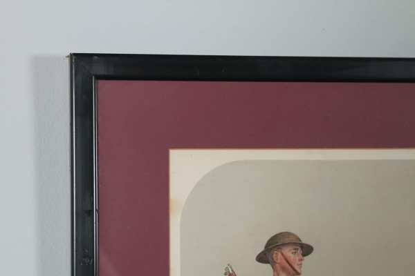 Antique English Watercolour Print of Four Soldiers, by Artist with Initials 'DM' (Circa 1925) - yolagray.com