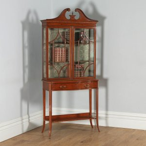 Antique Georgian Sheraton Style Marquetry Inlaid Satinwood & Mahogany Serpentine Glass Display Cabinet Attributable to Edwards & Roberts (Circa 1890) - yolagray.com