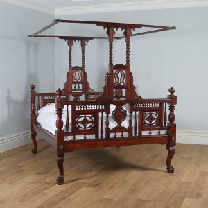 "Antique 5ft 10"" Colonial Raj Victorian Bombay Mahogany Four Poster Bed (Circa 1880) - yolagray.com"