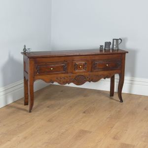 Antique French Provincial Walnut Three Drawer Dresser Base / Sideboard (Circa 1800)- yolagray.com