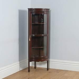 Antique Edwardian Mahogany Bow Front Glazed Corner Display Cabinet (Circa 1900) - yolagray.com
