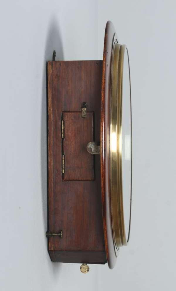 "Antique 15"" Mahogany Smiths Railway Station / School Round Dial Wall Clock (Timepiece) - yolagray.com"