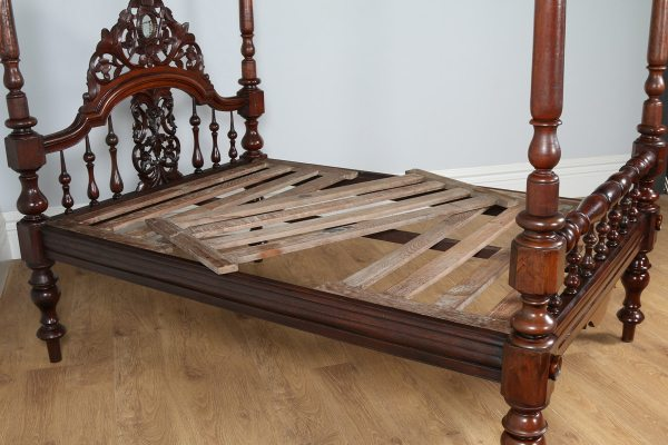 """Antique 4ft 6"""" Victorian Anglo Indian Colonial Raj Teak Double Four Poster Bed (Circa 1880) - yolagray.com"""