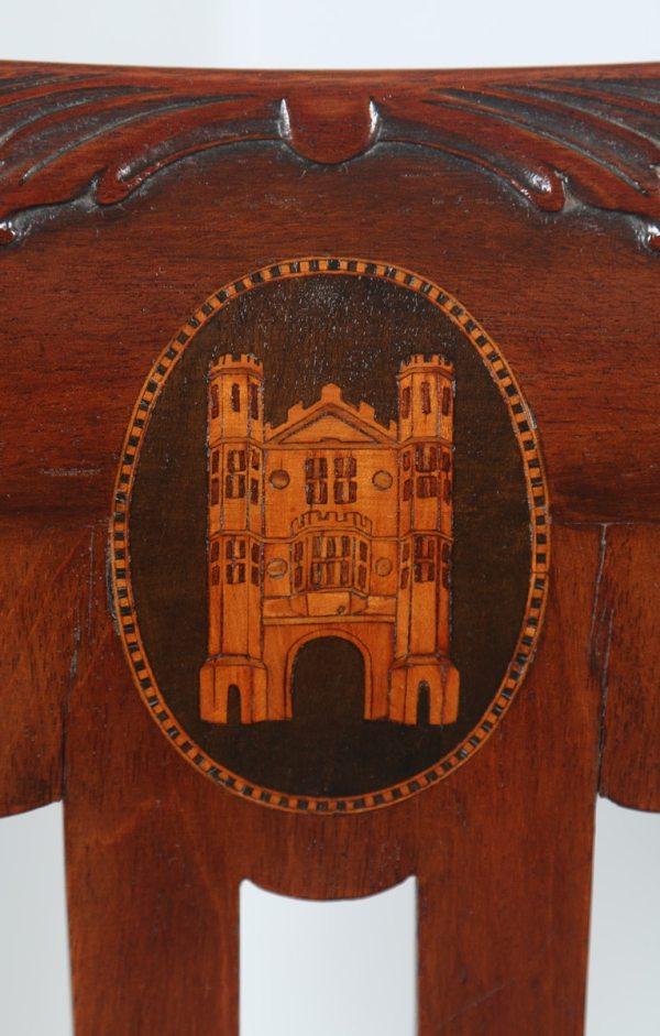 Antique English Georgian Chippendale Style Mahogany & Leather Revolving Desk Chair (Circa 1890) - yolagray.com