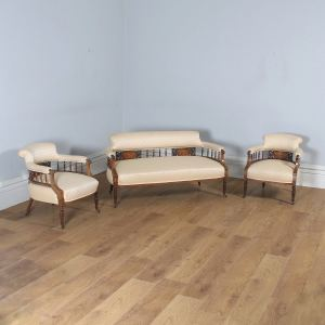 Antique Edwardian Three Piece Rosewood & Mahogany Marquetry Inlaid Upholstered Salon Sofa & Pair of Armchairs Suite (Circa 1900) - yolagray.com