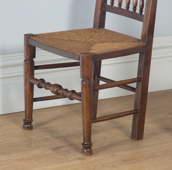 Antique Set of Four Georgian Ash & Elm Spindle Back Farmhouse Kitchen Dining Chairs (Circa 1800) - yolagray.com