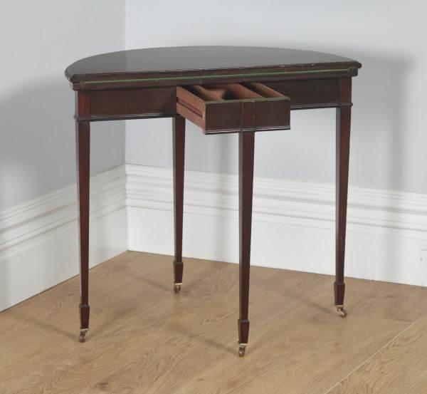 Antique English Georgian Regency Style Mahogany Folding Demi Lune Fold Over Card / Side Table (Circa 1900) - yolagray.com
