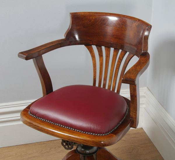 Antique English Edwardian Beech and Red Leather Revolving Swivel Office Desk Arm Chair (Circa 1910) - yolagray.com