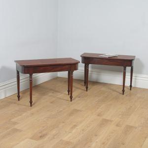 Antique English Pair of Georgian Mahogany D End Console Side Hall Tables (Circa 1820) - yolagray.com