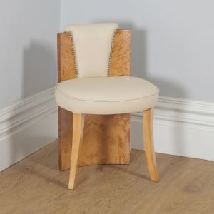 Antique English Art Deco Burr Maple & Cream Leather Chair Stool by Epstein (Circa 1930) - yolagray.com