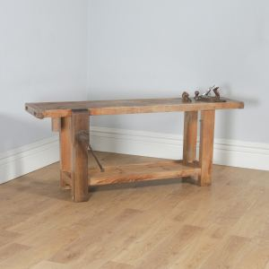 Antique French Provincial Chestnut Serving Side Table Sideboard Workbench (Circa 1870) - yolagray.com