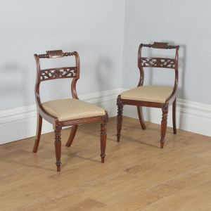 Antique English Pair of Regency Mahogany Dining / Side / Hall Chairs (Circa 1820) - yolagray.com