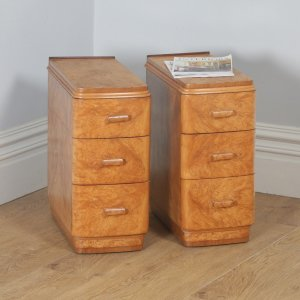 Antique English Pair of Art Deco Burr Maple Bedside Chests / Tables / Nightstands (Circa 1930)- yolagray.com