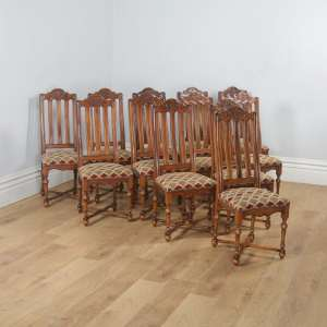 Antique Set of Twelve Belgian Louis Style Oak & Upholstered High Kitchen Dining Chairs by Rigaux (Circa 1920) - yolagray.com