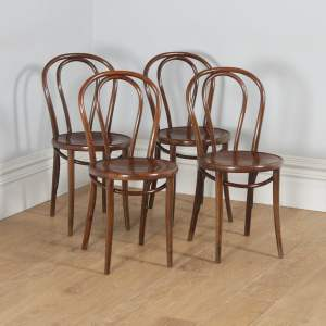 Antique Set of Four Thonet Fischel Bentwood Beech Hoop Back Kitchen Bistro Cafe Dining Chairs (Circa 1920)- yolagray.com