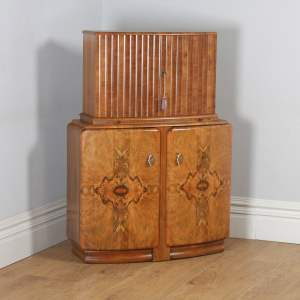 Antique English Art Deco Burr Walnut Cocktail Bar Drinks Bow Front Cabinet (Circa 1930) - yolagray.com
