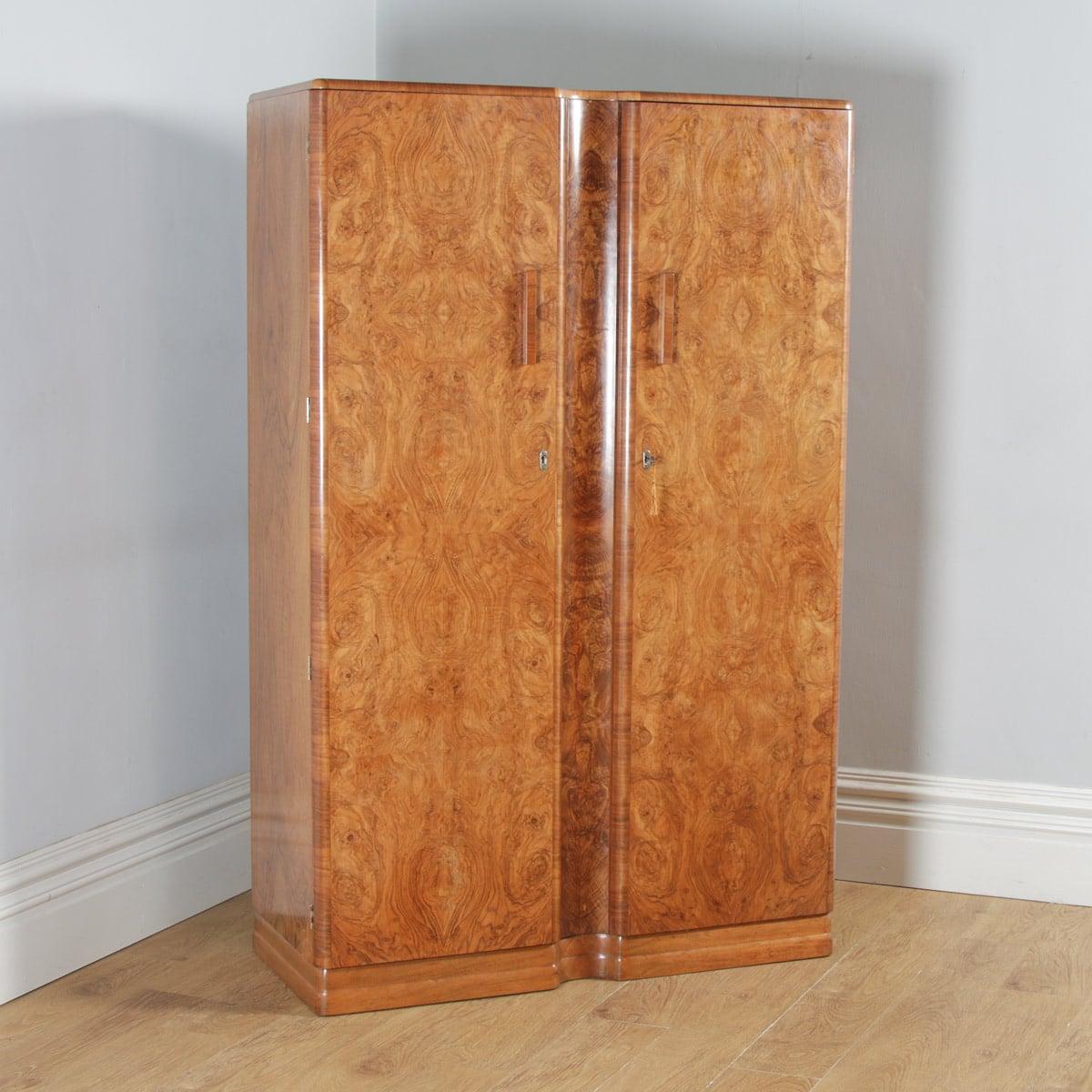 antique art deco burr walnut wardrobe by ray miles of liverpool circa 1930