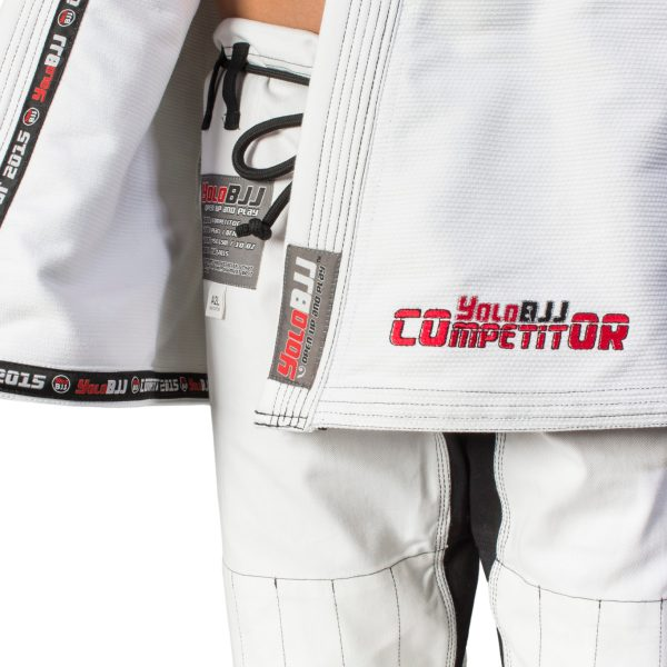 Comp450 BJJ gi white lapel tape detail
