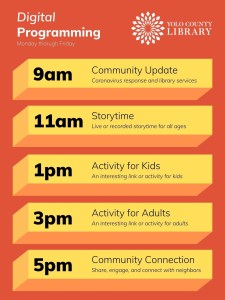 Digital programming on Social Media (Facebook and Instagram) offered by Yolo County Library, Monday - Friday. Schedule: 9 am - Community update, Coronavirus response and library services; 11 am - Storytime - Live or recorded storytime for all ages; 1pm - Activity for Kids - An interesting link or activity for kids; 3pm - Activity for Adults - An interesting link or activity for adults; 5 pm - Community Connection - Share, engage, and connect with neighbors
