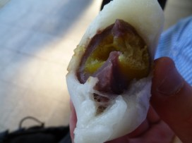Mochi with chesnut and red bean paste filling