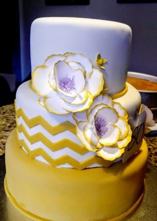yellow chevron cake
