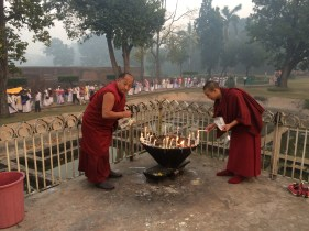 18 (Lamas lighting Butter Lamps at Nirvana Temple)