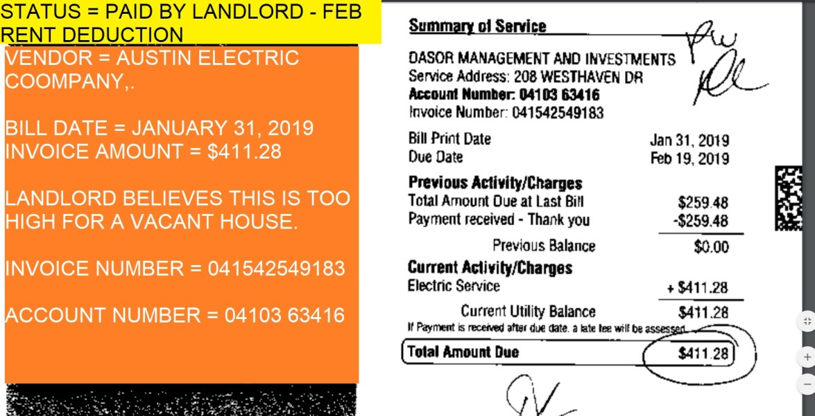 STATUS = PAID BY LANDLORD – FEB RENT DEDUCTION ELECTRIC BILL
