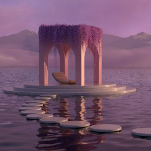 a pavilion n the middle of a sea