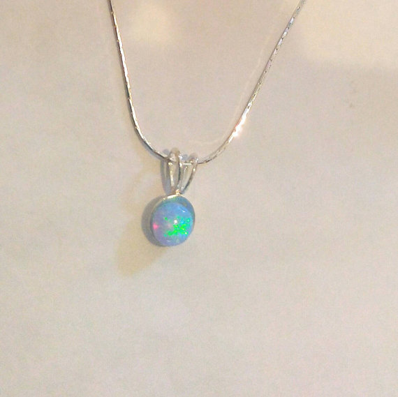 Tiny Dainty Opal Ball Necklace 925 Sterling Silver Ladies Light Blue Opal Pendant Light Blue Gemstone Jewelry Women Girls Gift Yonityonit