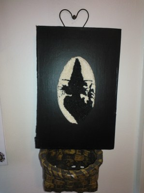 This witch silhouette comes from Rebecca at A Simple Quiet. Ms Boney Finger casts her spell.