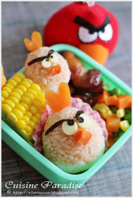 Angry Birds Bento (Tomato and Cheese Rice Balls)