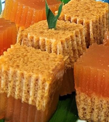 traditional kueh double layered gula melaka coconut delight
