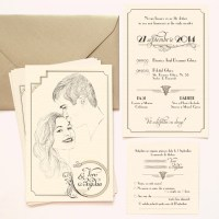 Invitatie de nunta de lux la comanda, cu portretul desenat al mirilor si tema Gatsby