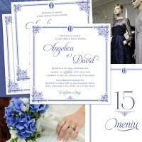{A Royal Affair}: Invitatii nunta regale, in nuante de bleumarin, cu ornamente elegante si monograma