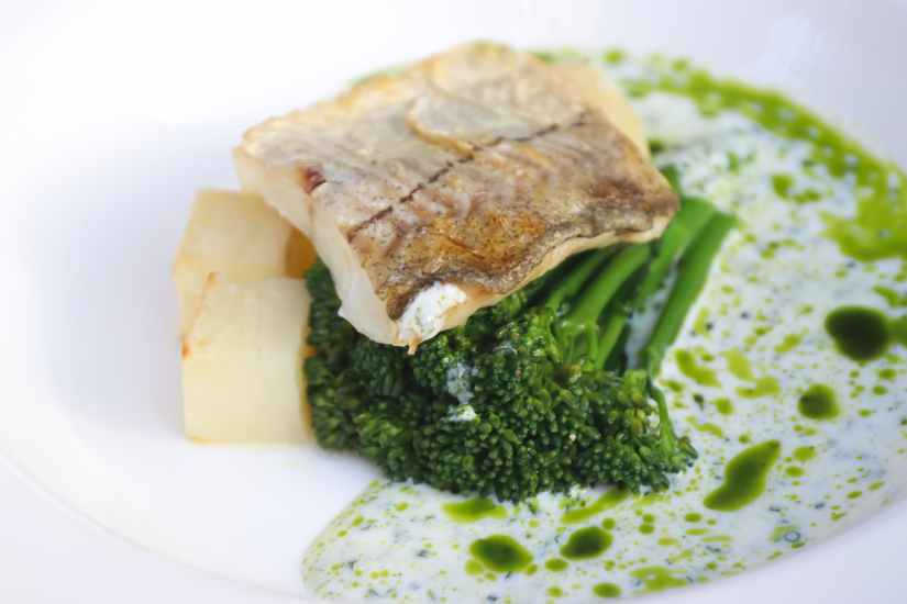 delicious fish with broccoli on plate