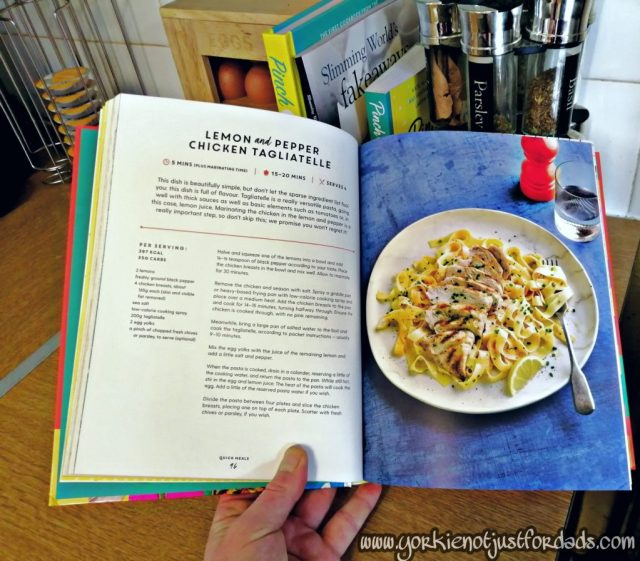 Lemon Pepper Chicken Tagliatelle from the Pinch Of Nom Everyday Light Cookbook.