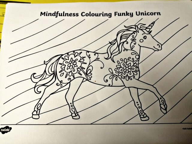 A colouring sheet from one of the girls work books to do while in lock Down.
