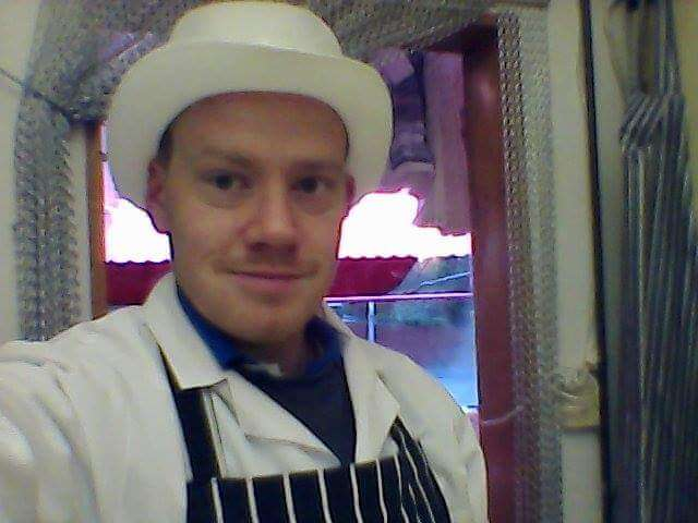 A picture of me back in my working life as a butcher. Donned in my butchers whites, trillby hat and apron. Do I go back to the career I know when I'm returning to work.