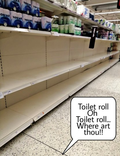 Empty shelves after panic buying of Toilet roll in my local sainsbury's at the start of lockdown. What other things did you notice during Lockdown?