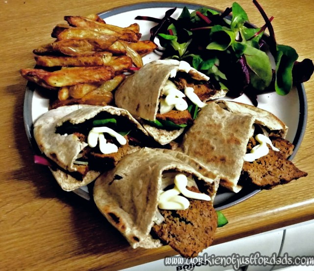 Slimming World Homemade Doner Kebab in Wholemeal Pita Bread, served with a side salad and some Slimming World Homemade chips.