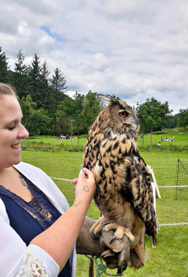 my wife to be Sarah in love with a gorgeous owl.