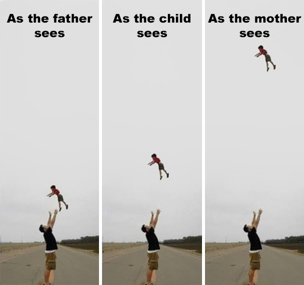 Dad memes showing what a mum sees when we toss our kids into the air and then catch them.