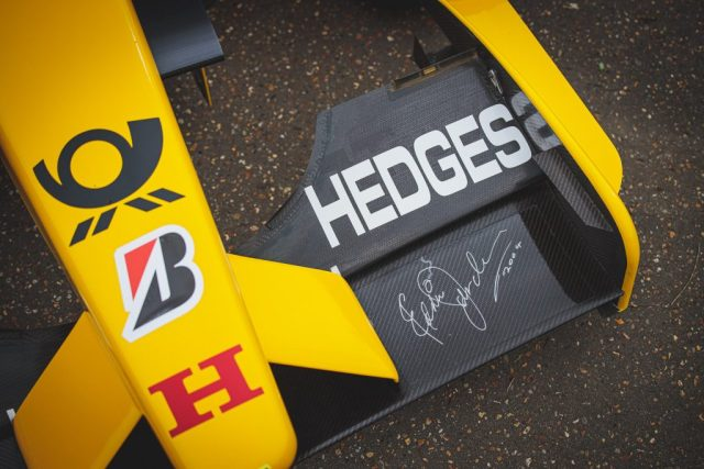 Image to show a signed Flap on the diffuser of the 2002 Jordan Hinda EJ12.