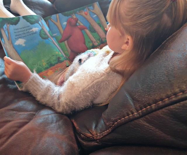 My Daughter Pig reading The Rug Bear.
