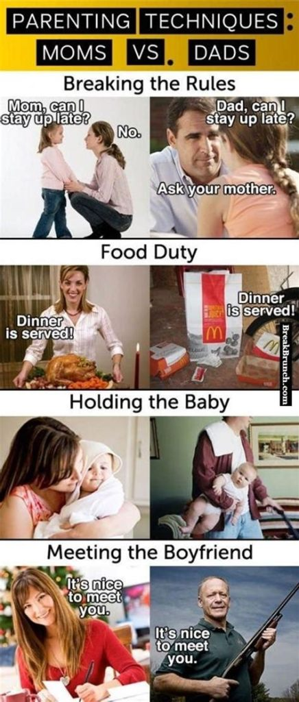 Heres a Parenting Dad meme that shows the comparisons of parental life between mums and dads.