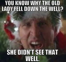 This image is the first Dad Joke / Dad meme I would like to share. With a classic dad joke.  Why did the old lady fall down the well? Because she didn't see that well.