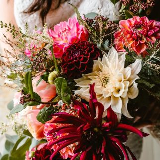 Homegrown Dahlia bouquet. Photo Georgina Brewster Photography