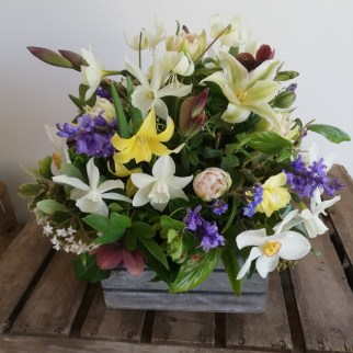 Spring Arrangement with Homegrown Flowers