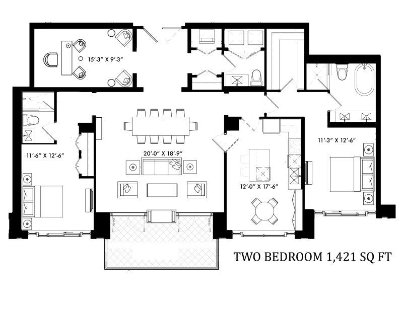 133 HAZELTON RESIDENCES - FLOORPLAN TWO BEDROOM 1421 SQ FT