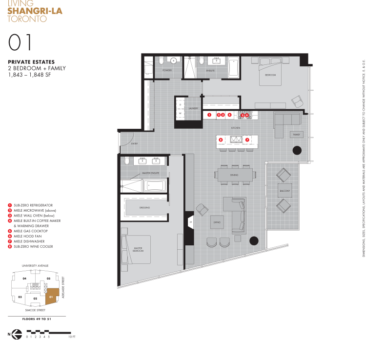 SHANGRI-LA TORONTO - FIVE CONDOS FOR SALE - FLOORPLAN 1848 SQ FT